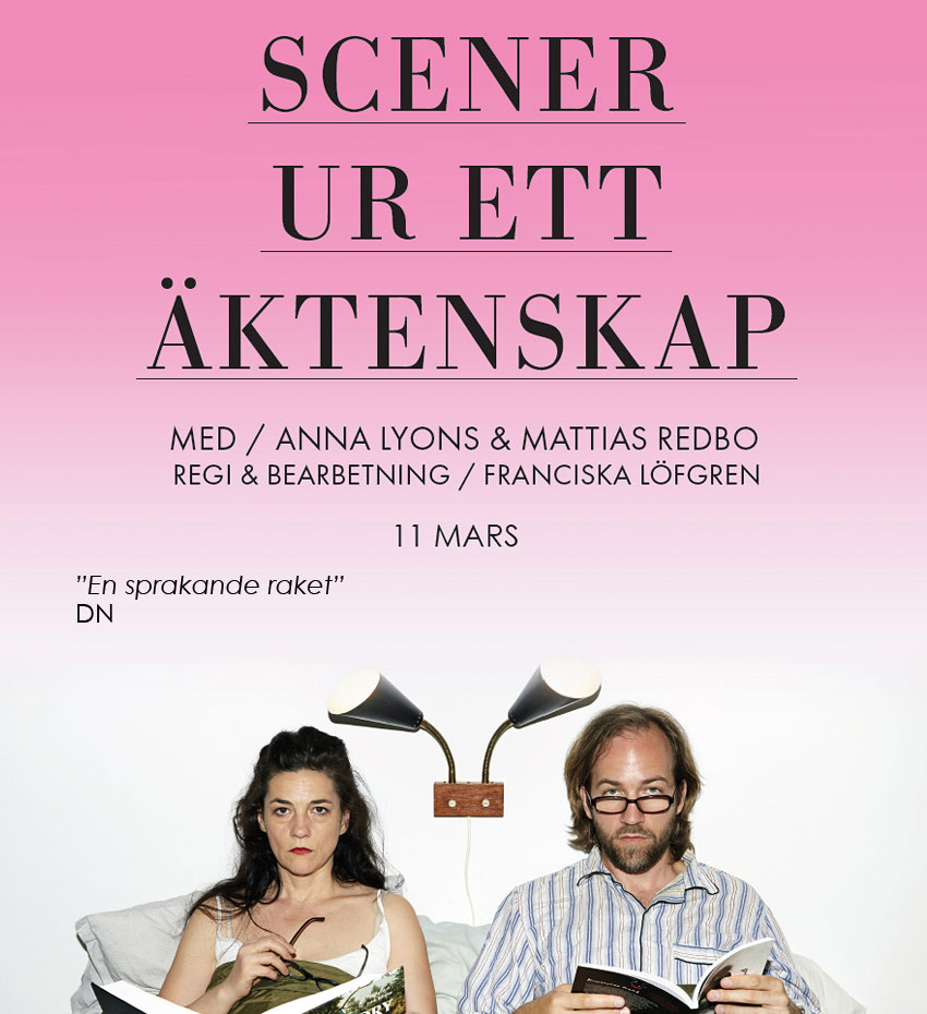 Scener ur ett äktenskap, Teater Brunnsgatan Fyra, 2015 Foto: Bengt Alm